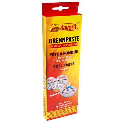Favorit | Brennpaste für Tischgrill und Fondue, 3 x 80g