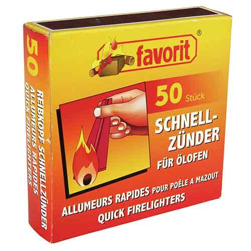 Favorit | Ölofen-Schnellanzünder mit Streichholz, 50 Stück